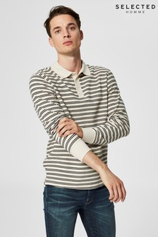 Selected Homme Striped Long Sleeve Polo Shirt