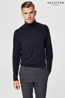 Selected Homme Cotton Silk Mix Roll Neck