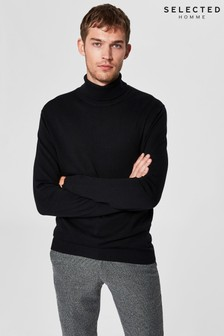 Selected Homme Cotton/Silk Roll Neck Jumper
