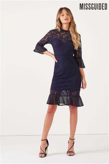 Missguided Lace High Neck Fishtail Midi Dress
