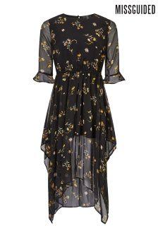 Missguided Chiffon Floral Asymmetric Hem Midi Dress