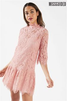 Missguided Lace Frill Sleeve High Neck Shift Dress