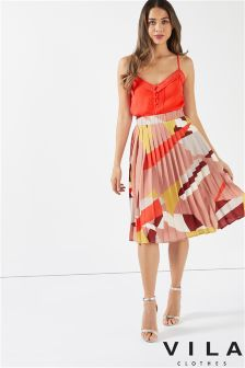 Vila Printed Pleat Midi Skirt