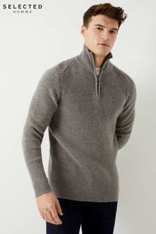 Selected Homme High Zip Neck Jumper