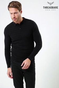 Tricou polo Threadbare tricotat