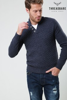 Threadbare Twist Notch Knitted Pullover