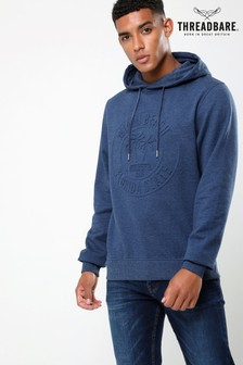 Threadbare Denim Marl Overhead Embossed Print Hoody