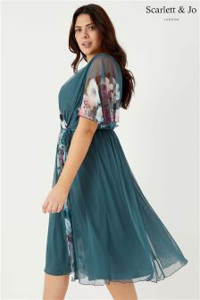 Scarlett & Jo Floral Print Float Sleeve Dress