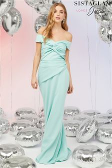 Sistaglam Loves Jessica Ruched Waist Bardot Maxi Dress