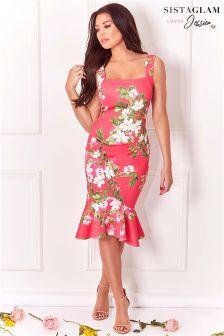 Sistaglam Loves Jessica Wright Floral Print Frill Hem Bodycon Dress