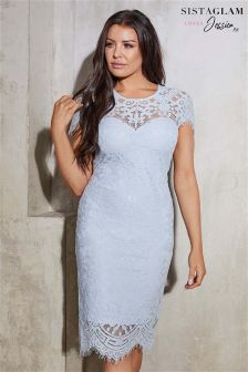 Sistaglam Loves Jessica Lace Scallop Hem Bodycon Dress