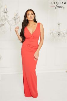 Sistaglam Loves Jessica Red Maxi Dress Stomach Ruched Wrap Neckline