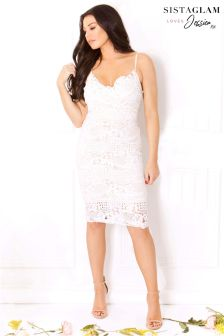 Sistaglam Loves Jessica Strappy Lace Bodycon Dress