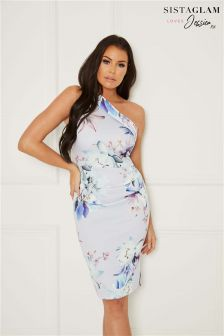 Sistaglam Loves Jessica Floral Print One Shoulder Midi Bodycon Dress