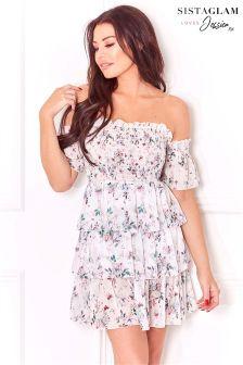 Sistaglam Loves Jessica Floral Print Bardot Teared Dress