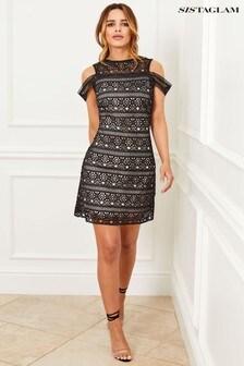 שמלת תחרה צמודה עם כתפיים חשופות של Sistaglam