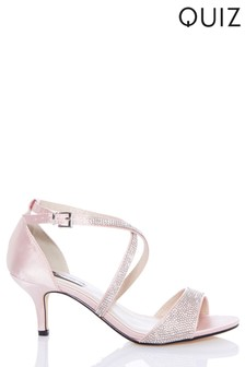 Quiz Diamanté Low Heeled Sandals