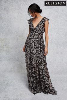 Religion Print Maxi Dress