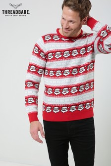 Threadbare Santa Stripe Christmas Jumper