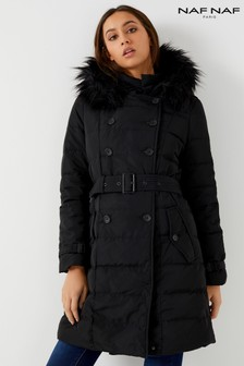 Naf Naf Padded Faux Fur Trim Coat