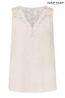 Naf Naf Lace V neck Top