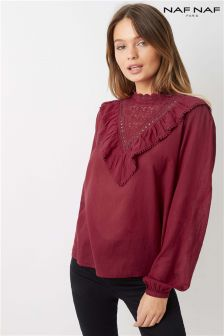 Naf Naf Ruffle Long Sleeve Blouse