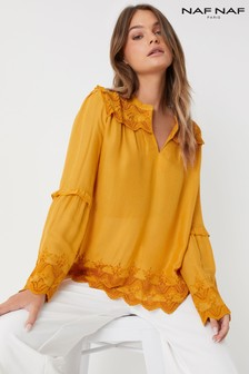 Naf Naf Bell Sleeve Lace Detail Blouse