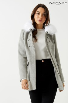 Naf Naf Fur Trench Coat