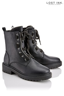 Lost Ink Lace Up Utility Boots