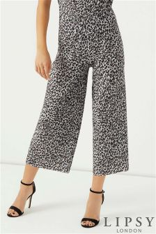 Lipsy Leopard Printed Plisse Culottes