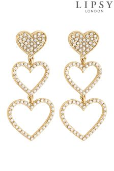 Lipsy Pearl Pave Heart Drop Earrings