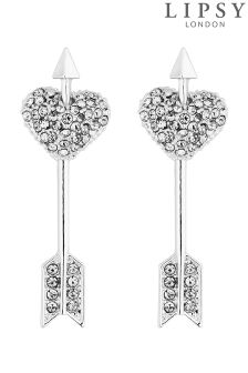 Lipsy Crystal Heart & Arrow Drop Earrings
