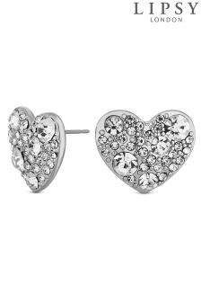 Lipsy Crystal Heart Stud Earrings