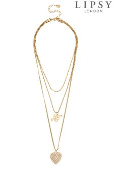 Lipsy Pearl Pave Heart Layered Necklace