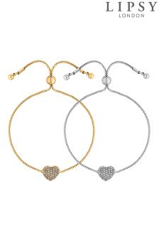 Lipsy Crystal Heart Toggle Bracelet Set