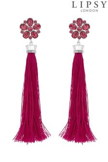 Lipsy Floral Tassel Drop Earrings