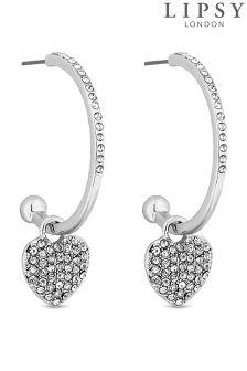 Lipsy Pave Heart Hoop Earrings