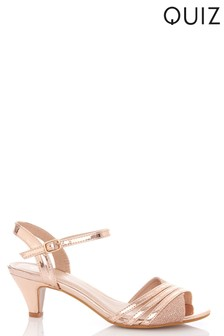 Quiz Metallic Strap Low Heeled Sandals