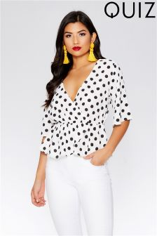 Quiz Polka Dot Wrap Top