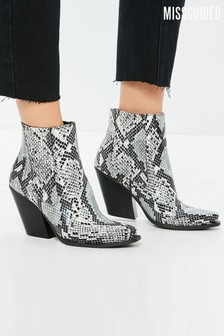 Missguided Western Snake Print Ankle Boots