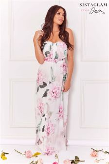 Sistaglam Loves Jessica Floral Print Maxi Dress