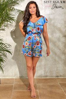 Sistaglam Loves Jessica Floral Print Satin Frill Playsuit