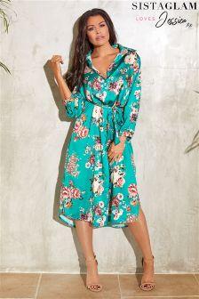 Sistaglam Loves Jessica Floral Print Shirt Dress