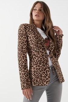 Unique 21 Leopard Print Tie Waist Blazer