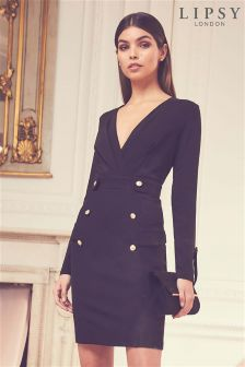 Lipsy Long Sleeve Tux Dress