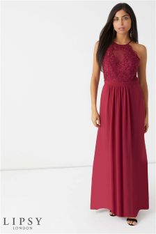 Lipsy Hollie 3D Flower Halterneck Maxi Dress