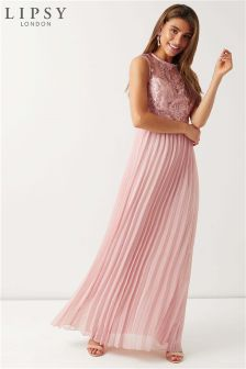 Lipsy Scallop Top Pleated Maxi Dress