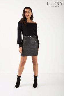 Lipsy Camilla Glitter Coated Mini Skirt