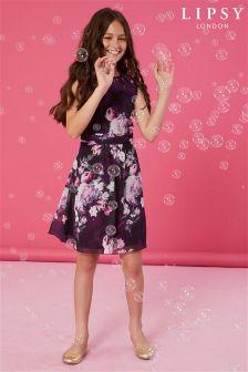 Lipsy Girl Lace Trim Printed Dress