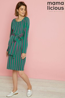 Mamalicious Maternity Stripe Long Sleeve Dress